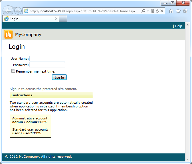 A standard dedicated login page created by application generator