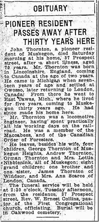 THORNTON_John_obituary from The Muskegon Chronicle_Monday 27 Jun 1921_page 9_cropped