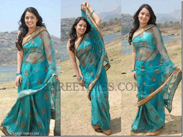 Nikitha_Green_Shimmer_Saree