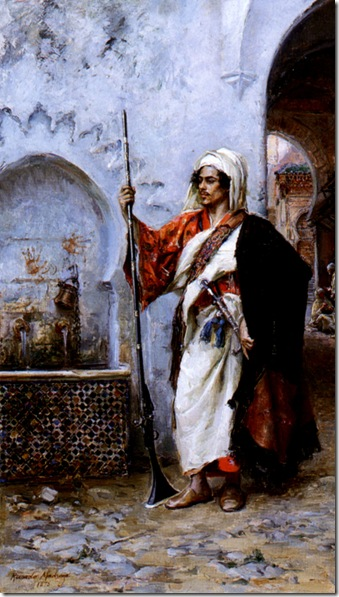 Ricardo de Madrazo y Garreta - Arab Warrior by a Fountain 1878 Oil on Panel-huge