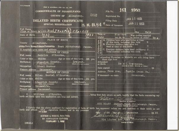 W O'Rourke delayed birth cert 1953