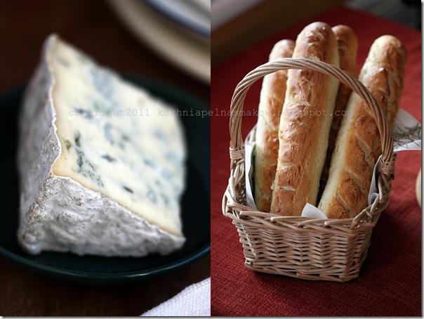 bagietki z serem pleśniowym i konfiturą gruszkowo-cytrynową