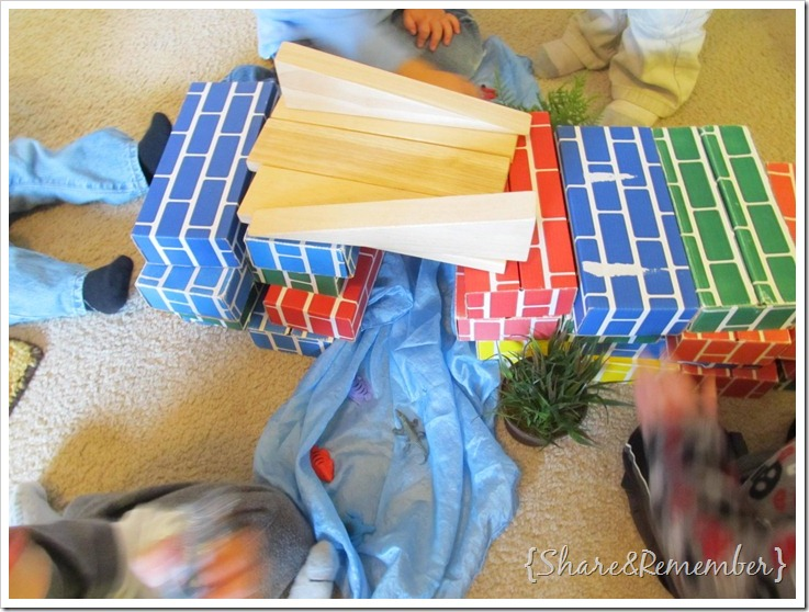 building bridges with blocks in preschool