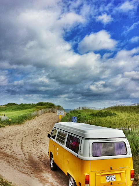 T2 Westfalia on the beach in Shediac, Canada