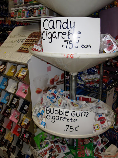 There were both the bubble gum and candy cigarettes.