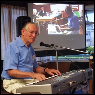 Roy Steen playing his Korg Pa80.  Roy also provided vocals on some of his pieces. Photo courtesy of Gordon Sutherland