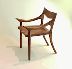 Front view Sam Maloof style lowback chair