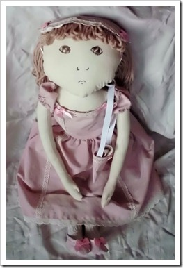 Brown Eyes - Cloth Doll in Pink Outfit
