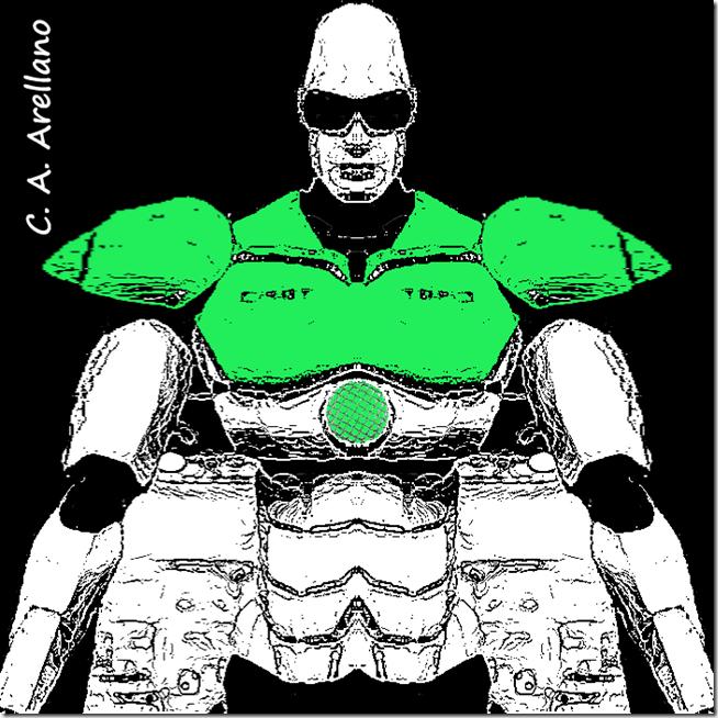 Robot pensando Soy alto, soy fuerte, soy sensible, soy inteligente, soy poderoso, de Carlos Alberto Arellano