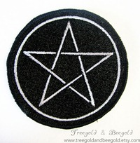 Thin Silver Pentacle Pagan Wiccan Sew on Patch