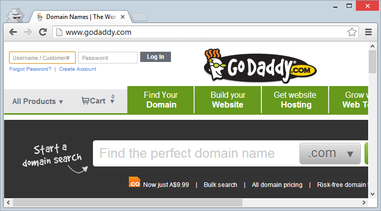 GoDaddy login page loaded over HTTP