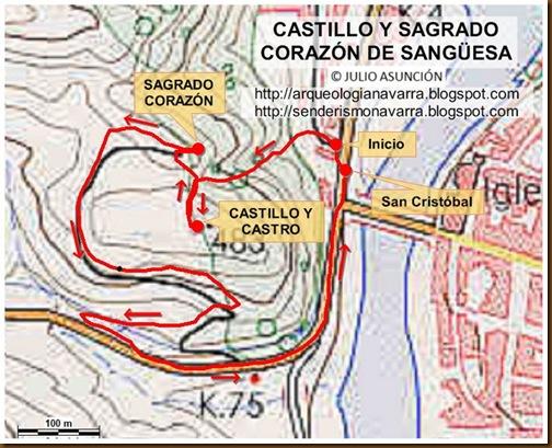 Mapa Castillo y Sagrado Corazón de Sangüesa