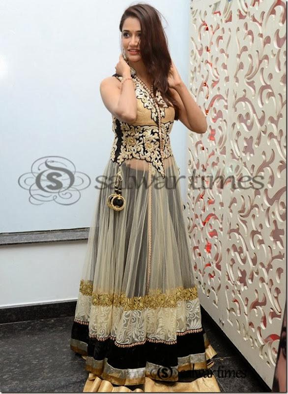 in designer net floral Anarkali kameez with high collar neck pattern