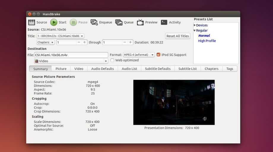HandBrake in Ubuntu