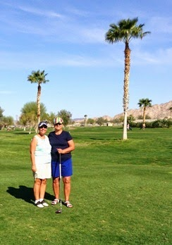 Evie and Wanda golf in Yuma