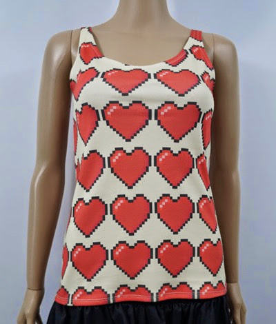 8 Bit Hearts Tank Top from Nerd Alert Creations