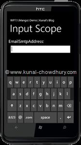 WP7.1 Demo - InputScope (EmailSmtpAddress)