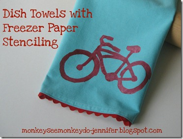 freezer paper stenciled dish towel with bike