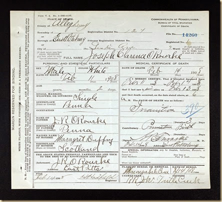 Joseph Clarance O'Rourke DOD 14 Feb. 1908