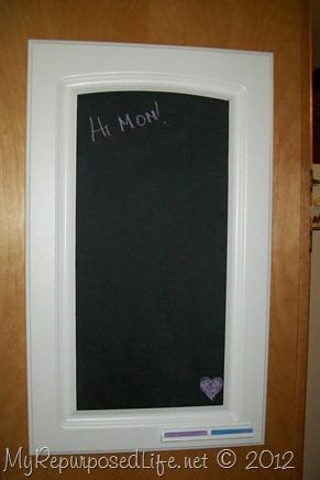 cupboard door repurposed into chalkboard