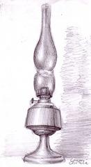 Natura statica lampa desen in creion