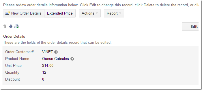 Extended Price action displayed in view 'editForm1'.