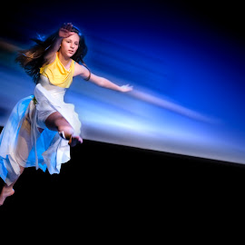 Light Jump by Mladen Bozickovic - People Musicians & Entertainers ( abstract, dancing, body, colorful, speed, beauty, jump, girl, color, night, light, dance, hair, dancer, culture )