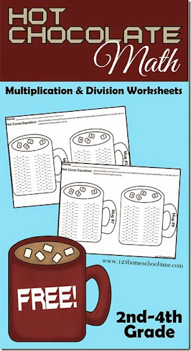 math worksheet : hot chocolate math  multiplication and division : Winter Themed Math Worksheets