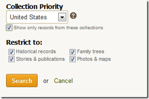 Ancestry.com advanced search form Collection Priority and Restrict To controls