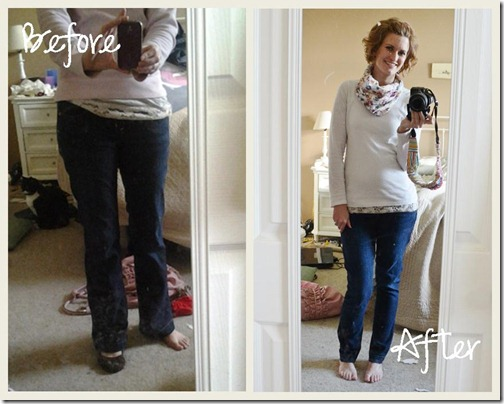 skinny pants before and after
