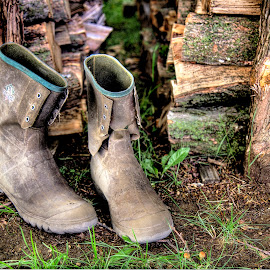 Works Done by Rosemary Jardine - Artistic Objects Clothing & Accessories ( brownington vermont, wood pile, work boots, rubber boots, boots )