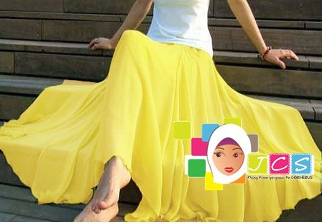 AWESOME CHIFFON CREPE YELLOW