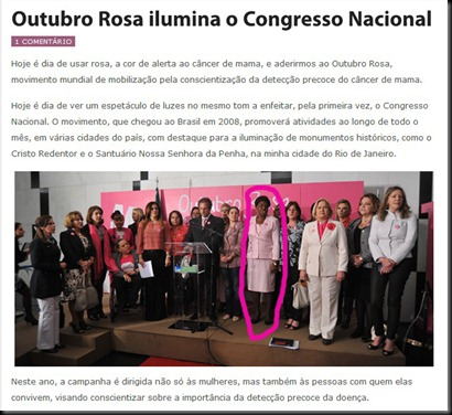 Outubro Rosa ilumina o Congresso Nacional  Benedita da Silva