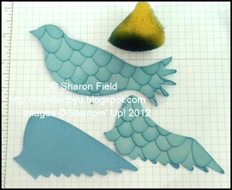 use a stampin wedge and marina mist ink to sponge outer edges of all three die cut pieces