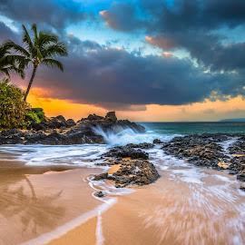 Secret Getaway by Abe Blair - Landscapes Beaches ( clouds, water, sand, orange, waves, tropical, fine art, palm trees, home decor, ocean, beach, lava rocks, paradise, island, sunrise, hawaii, reflectoins )