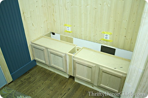 building a mud room bench with cabinets