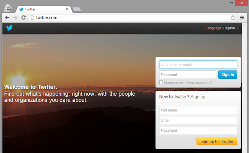 Twitter logon page loaded over HTTP