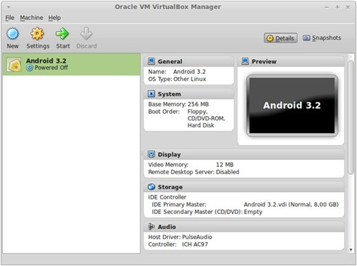 Virtualbox android config
