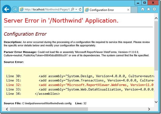 Error message displayed when Report Viewer is not installed.