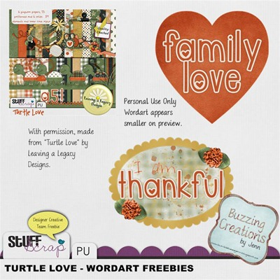 Leaving a Legacy Designs - Turtle Love - Wordart Freebies Preview