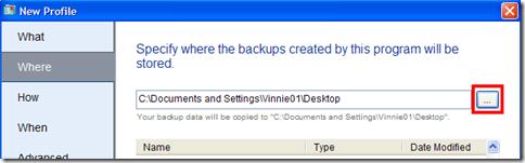 BitReplica indicare destinazione di salvataggio del backup