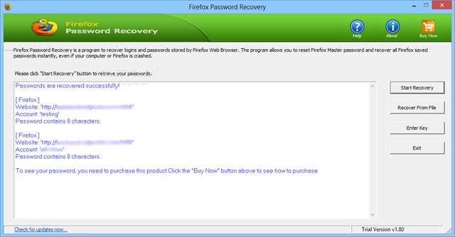 برنامج إستعادة الباسورد من الفايرفوكس Firefox Password Recovery 1.80