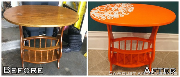 orange end table
