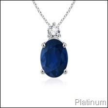 Oval Sapphire and Diamond Pendant