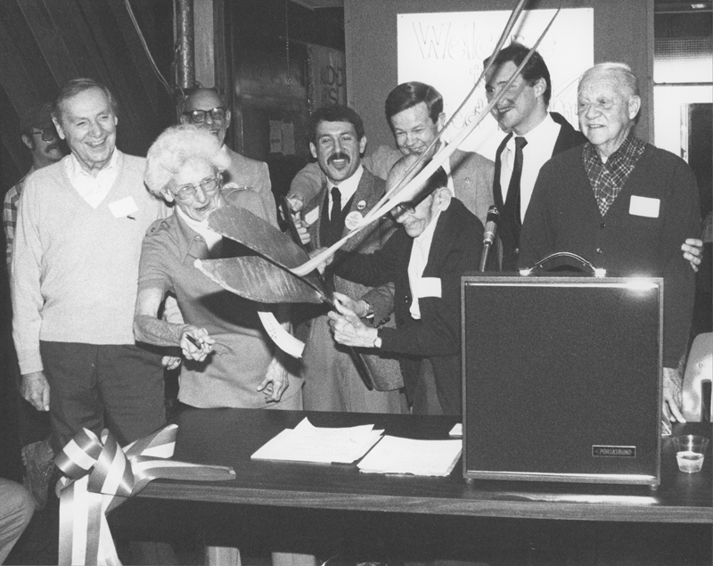 The SSGLC (Society for Senior Gay and Lesbian Citizens) celebrates their new home at the Los Angeles Gay and Lesbian Center with a ribbon-cutting ceremony. Circa 1979.