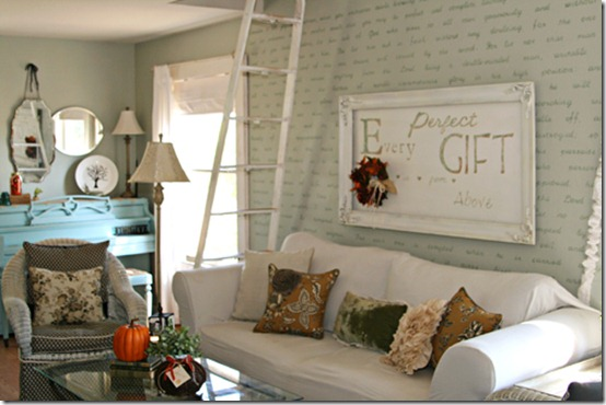 friday feature--living room with stenciled lettering on wall from the pennington point blog