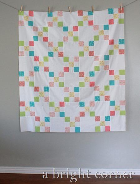 Cute flowery Irish Chain quilt from A Bright Corner