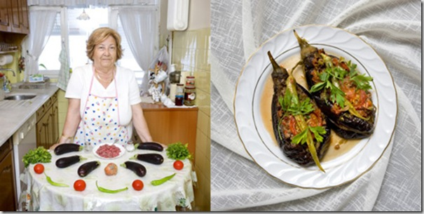 Ayten Okgu , 76 years old, Istanbul, Turkey. Karniyarik, stuffed aubergines with meat and vegetables