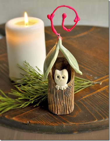 natural winter decor with Owl House ornament