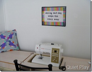 Sewing each day keeps the crazy away mini quilt